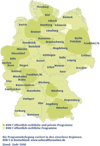 German DVB-T coverage at the end of 2008
