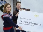 Get-customers Bernt Erik Henriksen and Marianne Jessheim are the 500,000th to be connected to fibre.